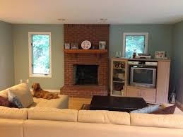 magnificent living room paint colors with red brick fireplace digs house