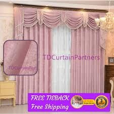 Pink Fabric Drapes Sheer Curtain Swag Pelmet Valance