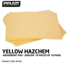 Hazchem Code Chart Pratt Yellow Hazchem Absorbent Pad 300gsm 10 Packs Of 10