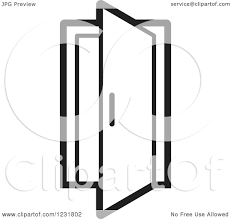 open door clipart black and white. Clipart Of A Black And White Open Door Icon - Royalty Free Vector Illustration By Lal Perera