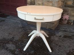 painted drum table with laminate top front