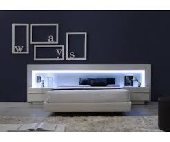 JNM- VALENCIA Modern White Lacquer Spain Platform Bed With LED ...