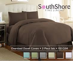 com souths fine linens 3 piece oversized duvet cover set chocolate brown king california king home kitchen