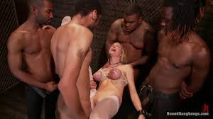 One intense gang bang for poor Rain PornDoe