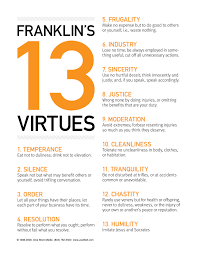 Benjamin Franklin Virtues Chart Healthy Wealthy And Wise 52 Life Changing Lessons For The