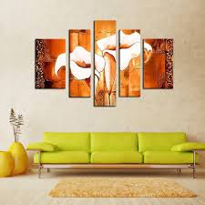 Living Room Oil Paintings Aliexpresscom Buy Framed Oil Painting Five Piece Modern