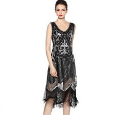 1920s Fashion Fashion Sequins Tassel Dress Deep V Neck Party Dresses 1920s Flapper Gatsby Vintage Evening Costume For Women Plus Size Holiday Party Dresses Short