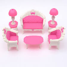 pink dolls house furniture. Miniatura Pink Dollhouse Furniture Living Room Parlour Sofa Set For Doll Accessories Toys Children-in Houses From \u0026 Hobbies On Dolls House O