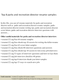 Top 8 parks and recreation director resume samples In this file, you can  ref resume ...