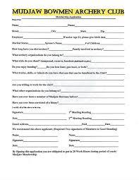 Application For Membership Mudjaw Bowmen Archery Club Membership Application