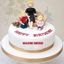 Happy Birthday Dear Mom Round Cake With Your Namename Birthday Cake