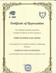 Certificate Of Appreciate Certificate Of Appreciate