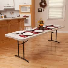 Fold In Half Round Table Lifetime 8 Fold In Half Table Almond Walmartcom