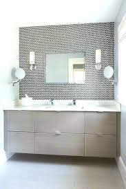 contemporary bathroom rugs taupe features a veneer floating vanity topped with white bath mats