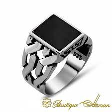 Square Shape Ring Design Square Modern Onyx Men Ring Boutique Ottoman Exclusive