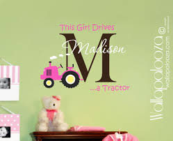girls tractor wall decal