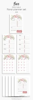 Pink Floral Planner Inserts In A5