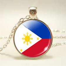 new time gem glass cabochon philippines national flag world cup football fan pendant necklace link chain