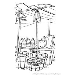 Small Picture Fall Coloring Pages Kids Fall Harvest Stand Coloring Page Sheets
