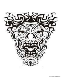 Aztec Coloring Pages Adult Mask Inspiration Inca Mayan 3 Printable