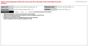 switchboard operator resume sample Switchboard Operator Police District Resume  Sample