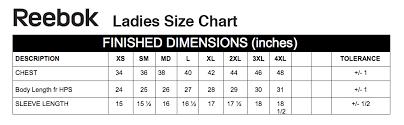 Reebok Sweatshirt Size Chart The Graphic Edge Size Charts