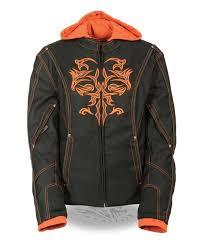 women s motorcycle black orange textile jacket w reflective tribal biker apparel