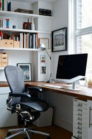 home office decor brown simple. Decorations:Contemporary Home Office Space Ideas With White Modern Laminated Computer Desk And Black Decor Brown Simple