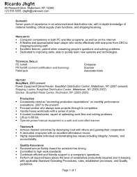 sample resume warehouse