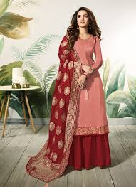 Satin Silk Dress Designs Satin Silk Peach And Red Embroidered Designer Palazzo Suit