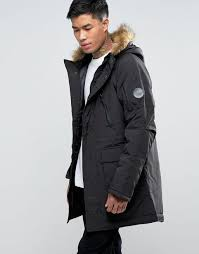 nicce london polar parka with faux fur hood midweight woven outer black men nicce new york hoo black free delivery