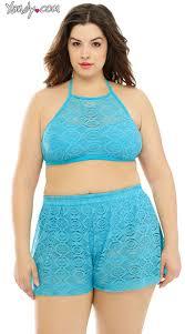 plus size short sets plus size crochet crop top and shorts set plus size high neck