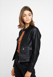 nmmore jacket faux leather jacket black