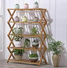 multi shelf plant stand. Image Is Loading BAMBOOWOODENSHELFSHOERACKFOLDINGMULTITIER Intended Multi Shelf Plant Stand