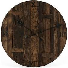 milton rustic lodge reclaimed railroad ties iron clock face 527 liked on polyvore featuring home home decor clocks oversized clock iron home decor cafe lighting 8900 marrakech wall