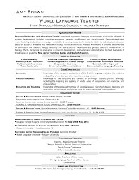Language Teacher Resume Sample 24 Resume Templates For Freshers Sample College Lecturer Objective 9