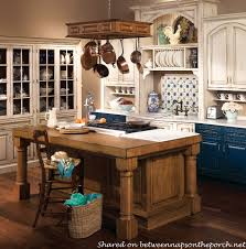blue country kitchen. blue and white french country kitchen e