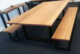 dining table bench seat. Recycled Messmate Dining Table With Black Metal Legs And Matching Bench Seats Seat