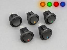 12v 10a 1 way round mini rocker switch dot 12 volt planet Wiring 12vdc Switches Illuminated on off mini rocker switch, round, with without dot illumination 16a LED Illuminated Switches