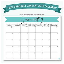 Printable Free Monthly Calendars January 2019 Calendar Free Printable Live Craft Eat