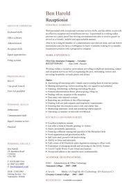 Receptionist Resume Template Receptionist Cv Sample