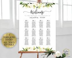 Etsy Wedding Seating Chart Wedding Seating Chart Template Floral White Flowers Seating