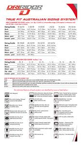 Dririder Size Chart Sydney City Motorcycles
