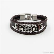 whole letter bracelets men leather bracelet cuff casual pu woven vintage letter leather chain supplies acc245 silver rings personalized charm bracelet