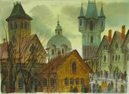 anatole krasnyansky original prague fall watercolor painting signed
