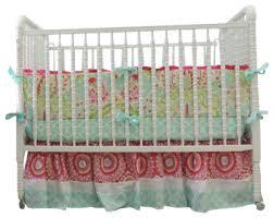 Boutique Crib Bedding using Kumari Garden in Aqua Trellis Pink