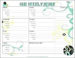 Menu Planning Template Printable Free Menu Planner Template Meal Planning Template Excel Free