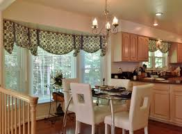 Bay Window Kitchen Curtains and Window Treatment Valance Ideas with Dining  Table and Chairs