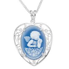 las shipton and co silver blue and white agate chreub cameo pendant including a 16 silver chain tss171ba from shipton and co uk