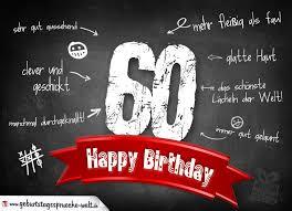 Komplimente Geburtstagskarte Zum 60 Geburtstag Happy Birthday